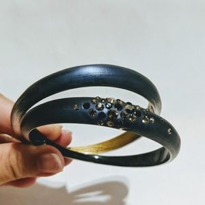 Alexis Bittar Crystal Dusted Lucite Bangle Set